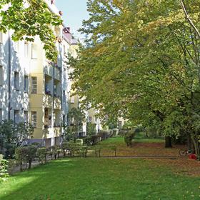 Großer grüner Hof