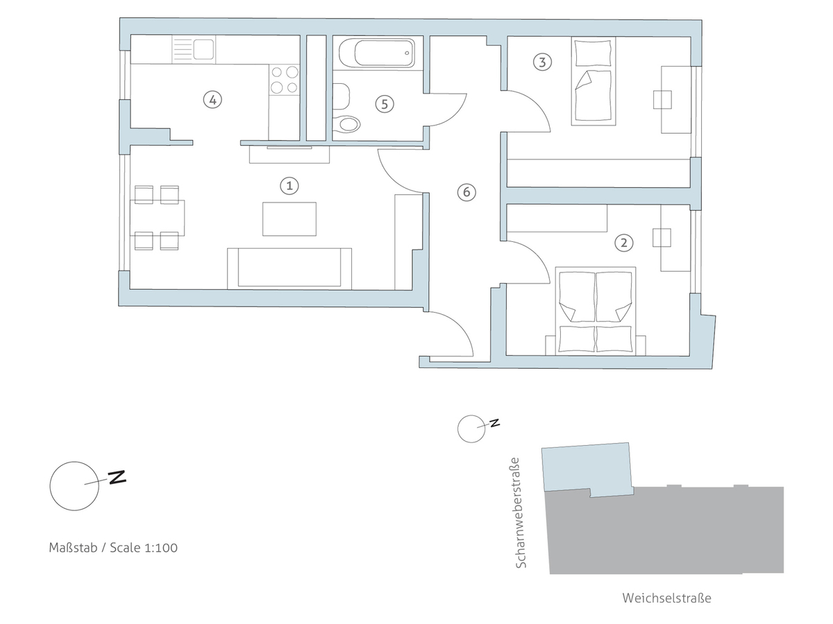 Grundriss WE 1 | Scharnweberstraße