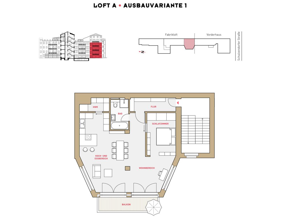 Floor plan LOFT A configuration option 1 | Schulzendorfer Straße