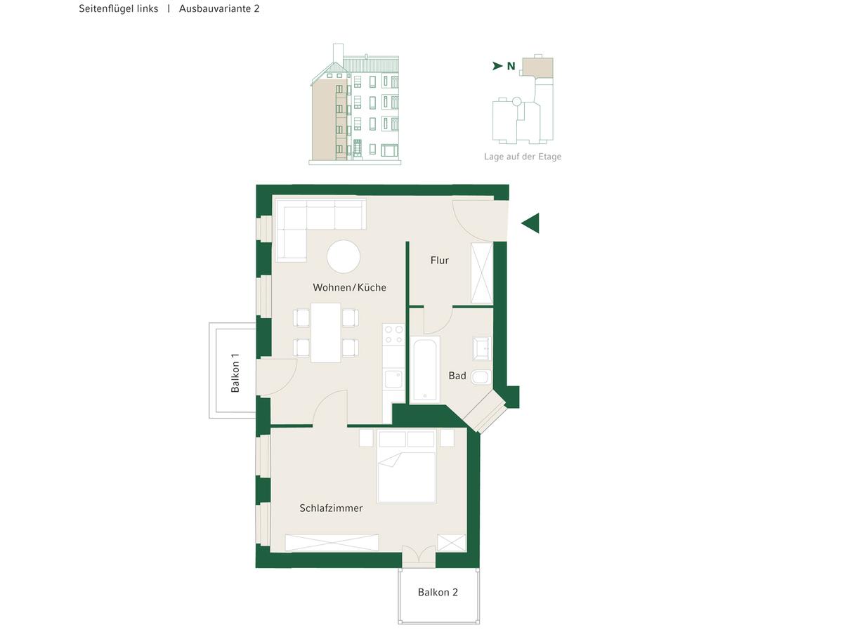 Floorplan Unit 12 configuration option 2 | Johannisberger Straße