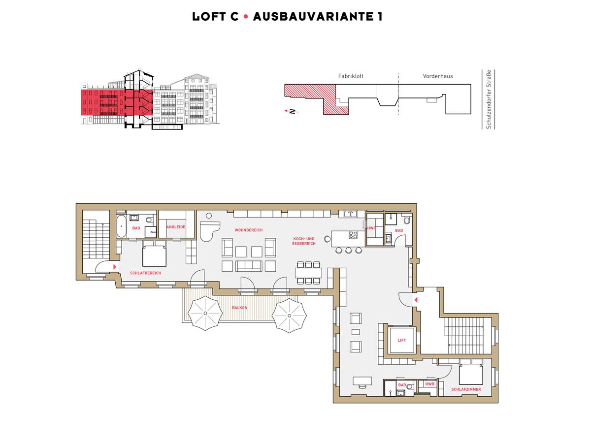 Grundriss LOFT C Ausbauvariante 1 | Schulzendorfer Straße
