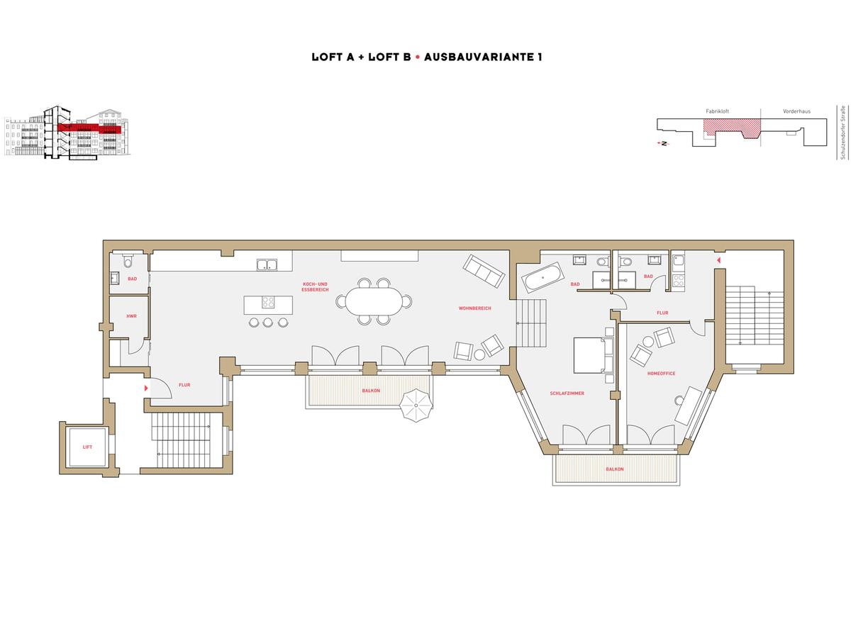 Floor plan LOFT A+B configuration option 1 | Schulzendorfer Straße