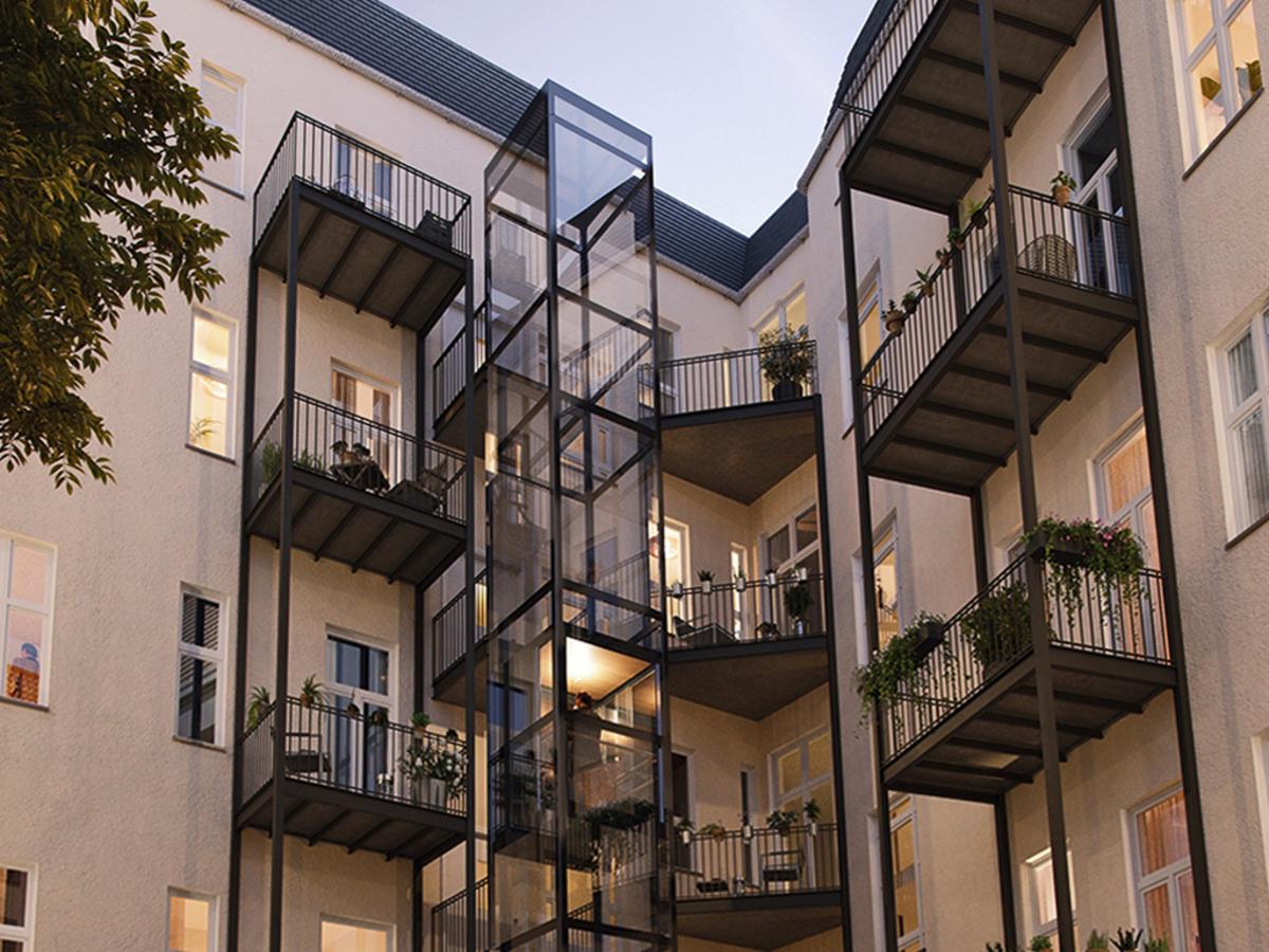 Visualization elevator and balconies | Lenbachstraße