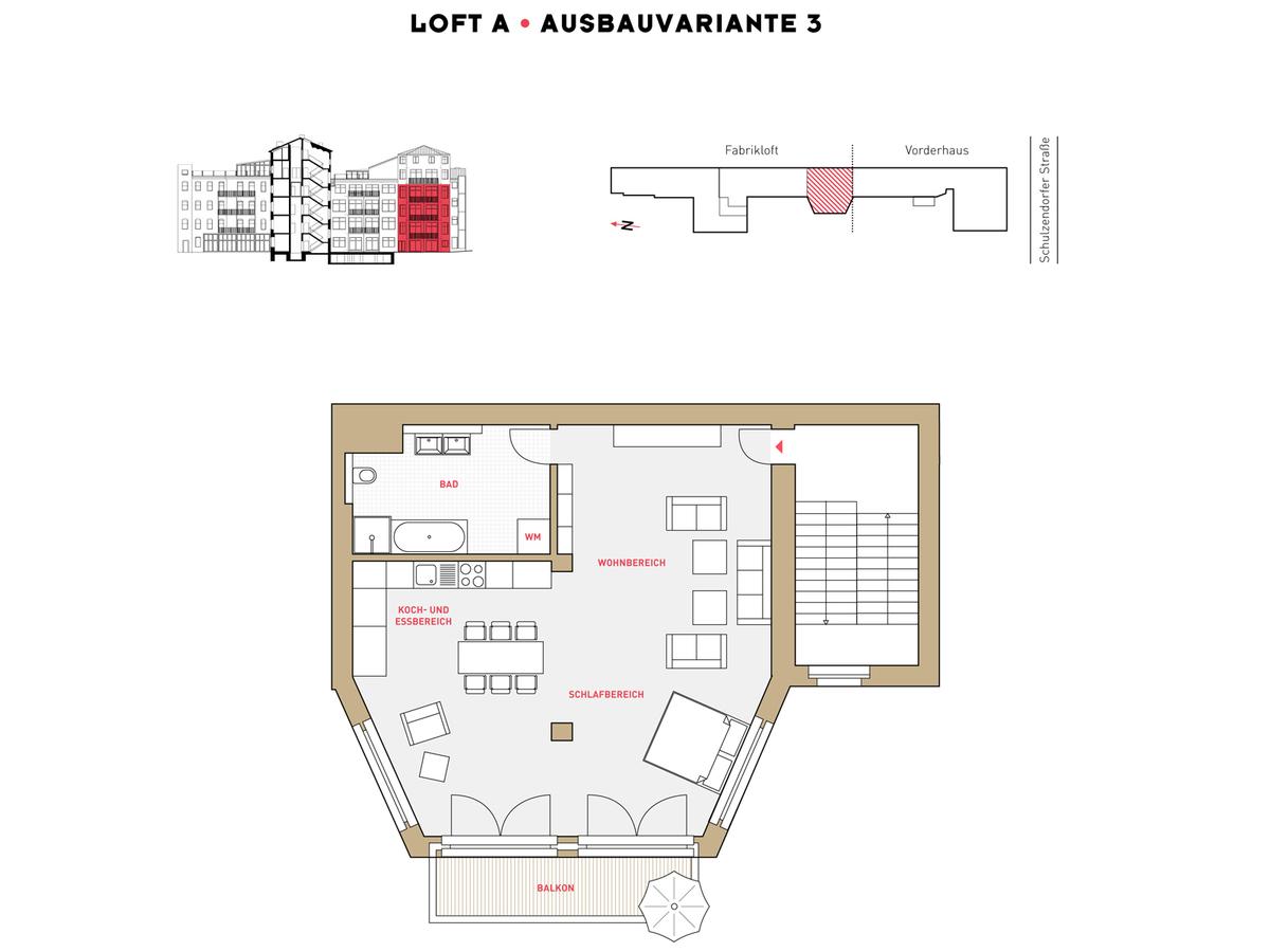Floor plan LOFT A configuration option 3 | Schulzendorfer Straße