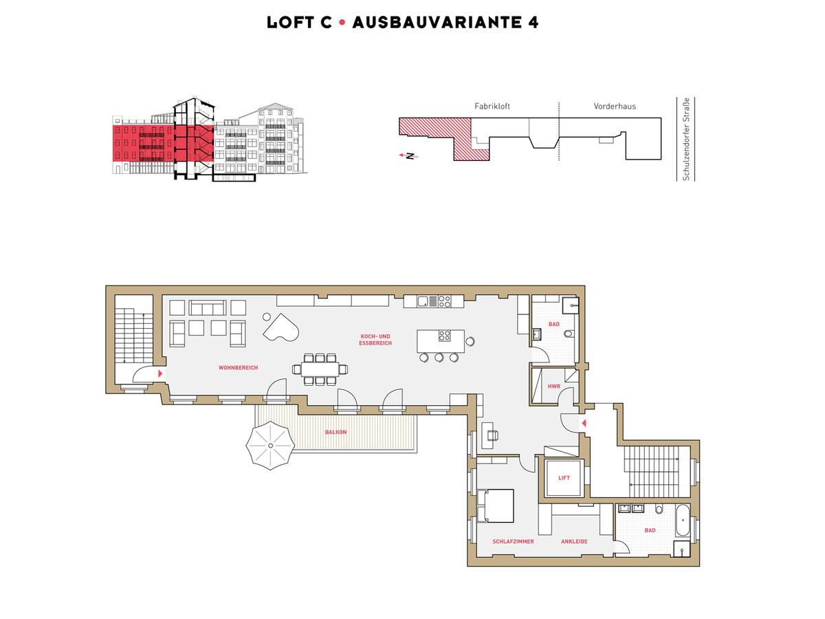 Grundriss LOFT C Ausbauvariante 4 | Schulzendorfer Straße