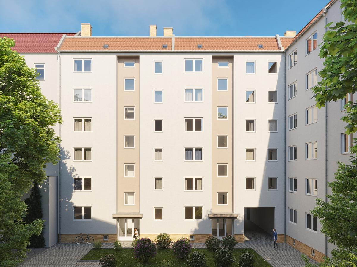 Rendering Hausansicht Hof | Scharnweberstraße