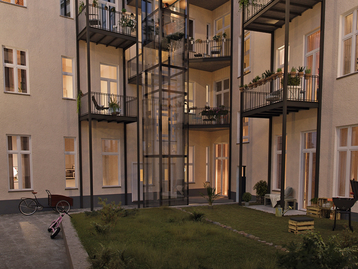 Visualization inner courtyard and garden | Lenbachstraße