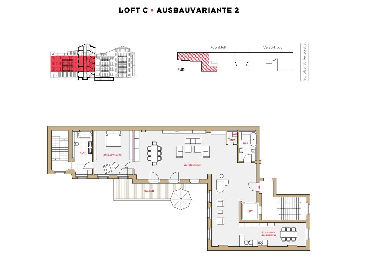 Grundriss LOFT C Ausbauvariante 2 | Schulzendorfer Straße