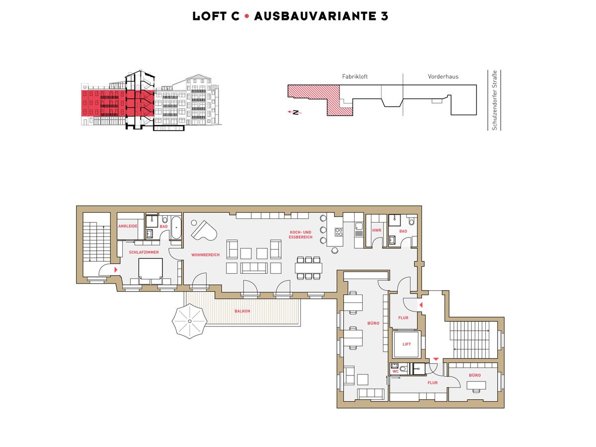 Grundriss LOFT C Ausbauvariante 3 | Schulzendorfer Straße