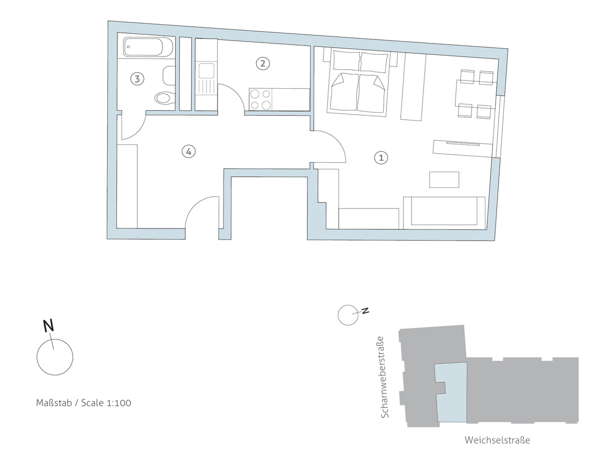 Grundriss WE 8 | Scharnweberstraße