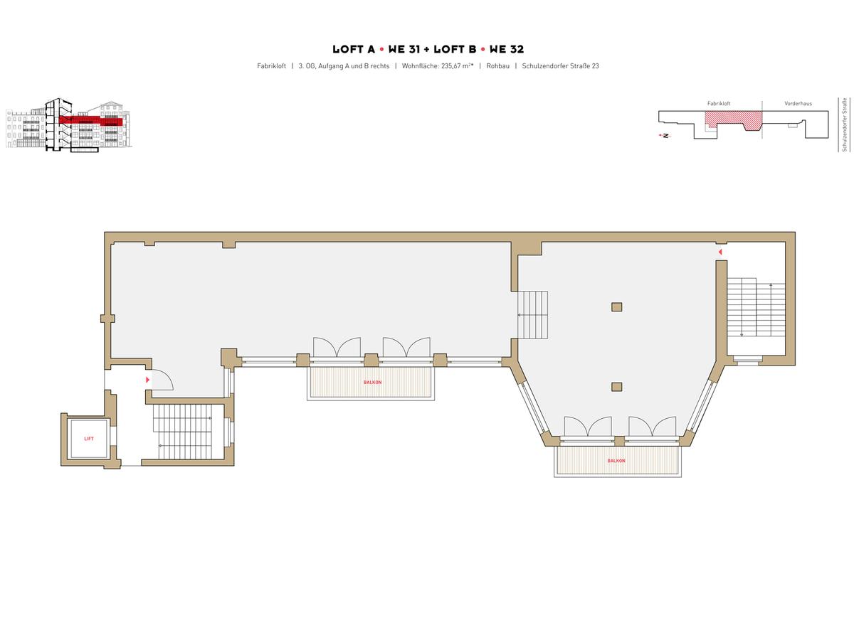 Floor plan LOFT A+B - Unit 31+32 | Schulzendorfer Straße