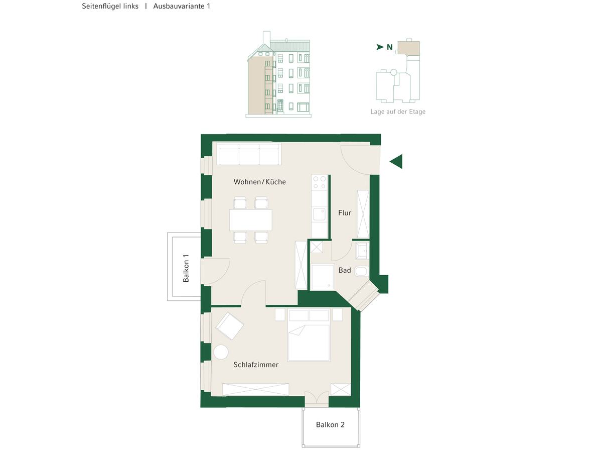 Floorplan Unit 09 configuration option 1 | Johannisberger Straße