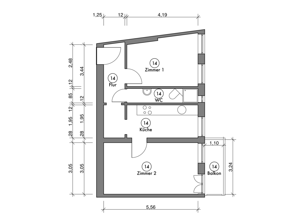 Floor plan unit 14 | Erasmusstraße