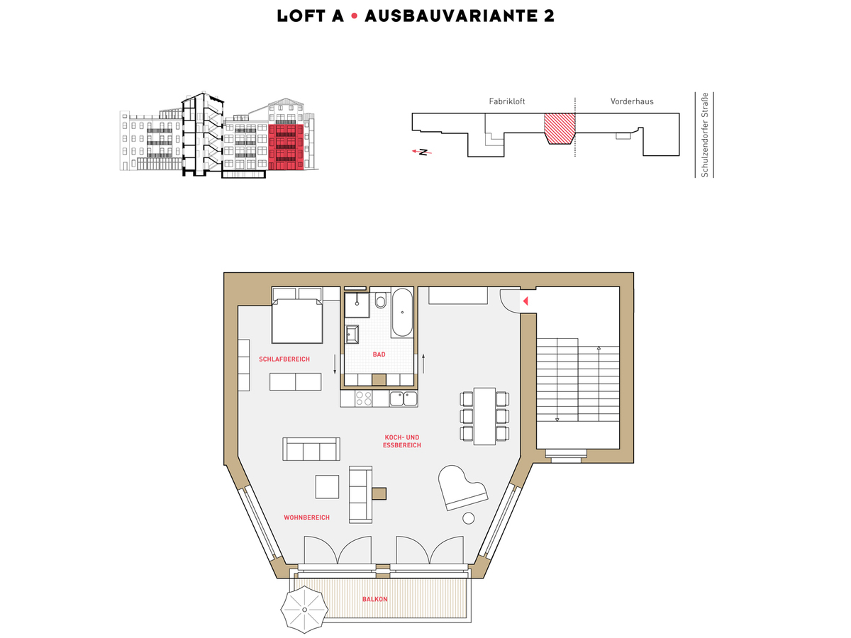 Floor plan LOFT A configuration option 2 | Schulzendorfer Straße