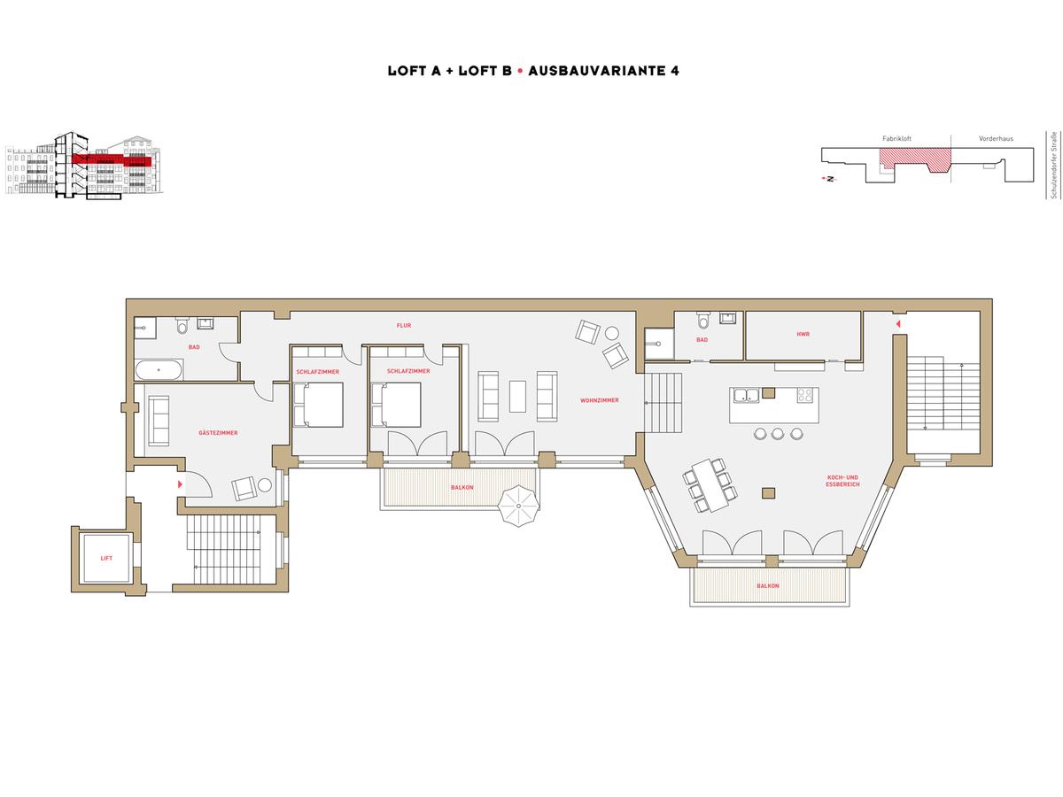 Floor plan LOFT A+B configuration option 4 | Schulzendorfer Straße