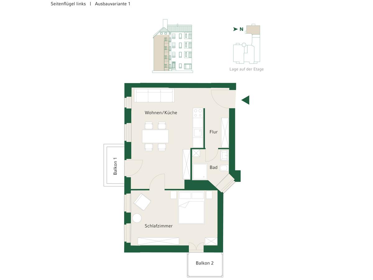 Floorplan Unit 12 configuration option 1 | Johannisberger Straße