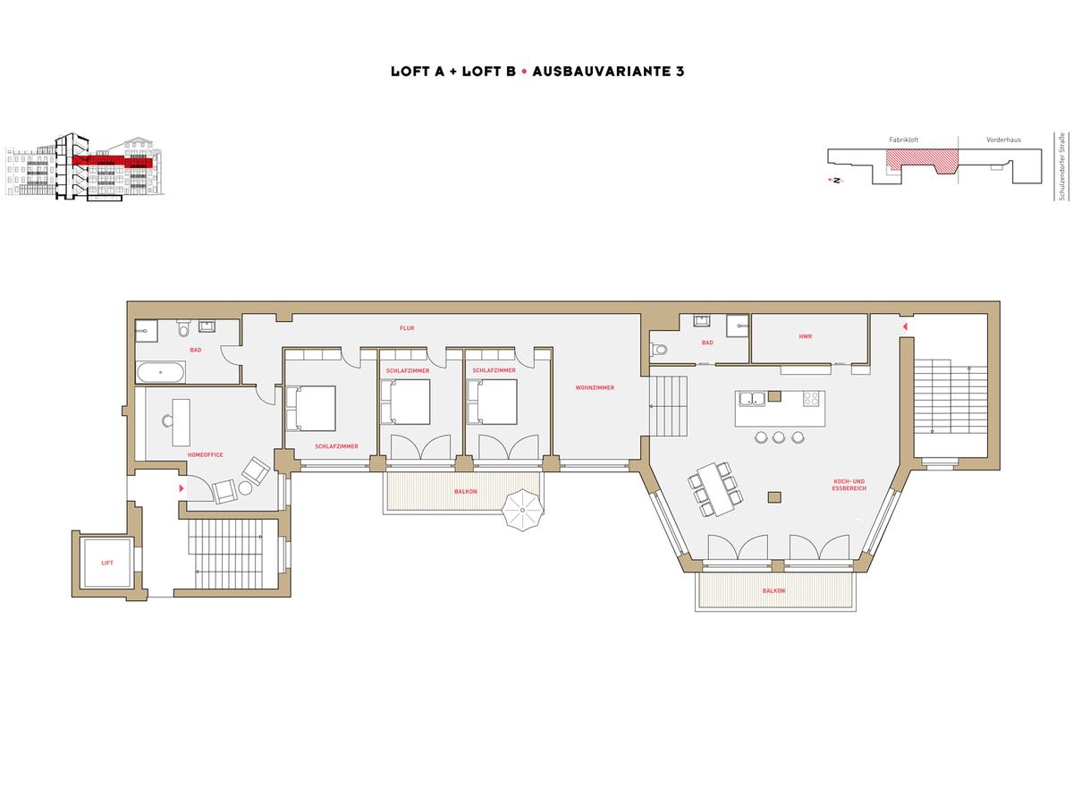 Floor plan LOFT A+B configuration option 3 | Schulzendorfer Straße