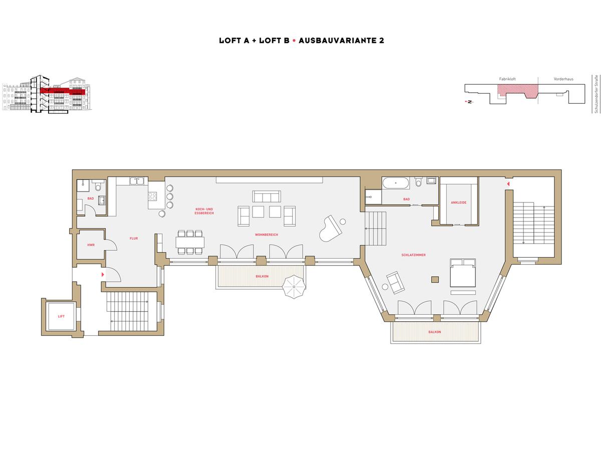 Floor plan LOFT A+B configuration option 2 | Schulzendorfer Straße